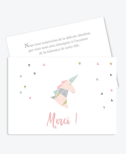 carte de remerciement naissance fille pastel et pas cher-licorne origami-rose et vert menthe