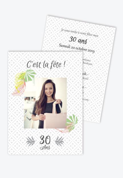 invitation anniversaire femme-tropical-fiesta-palmier-20ans-30ans-40ans-50ans-60ans-70ans
