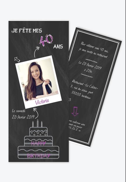 Invitation Anniversaire Femme Ardoise Polaroid Faire Part Naissance Faire Part Bapteme Et Invitation Anniversaire Adulte La Boite A Faire Part