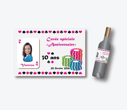 etiquette de vin anniversaire