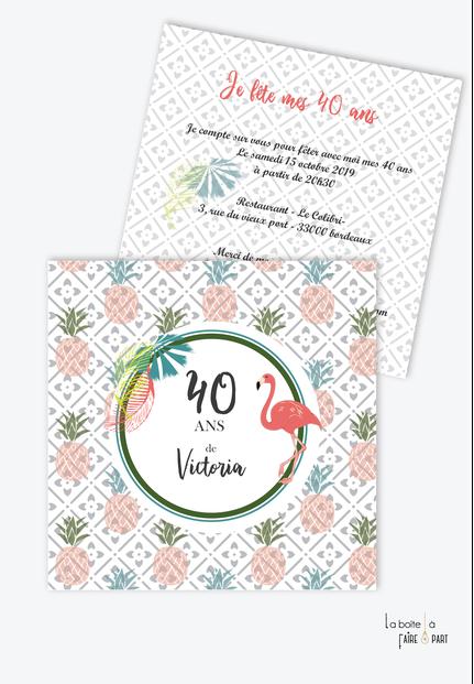 invitation anniversaire femme Flamant rose-tendance-moderne-ananas-tropique-pas cher-20ans-30ans-40ans-50ans-60ans-70ans