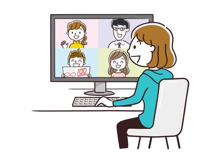 [イラスト]ノートパソコンでオンライン自主学習をする中学生と画面越しのサポートコーチ