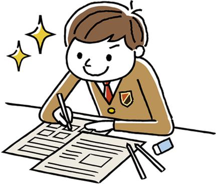 [イラスト]前向きに勉強に取り組む男子中学生