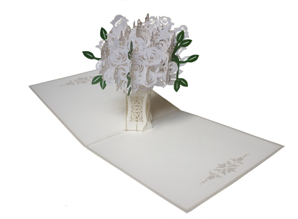 Carte Pop-up bouquet de roses blanches