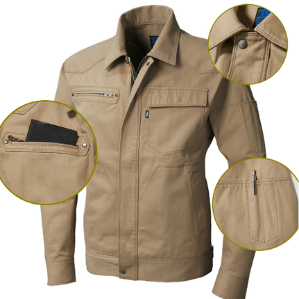 ファスナー隠し仕様で溶接現場に対応。右胸ファスナーポケット付きで、左袖ペン差し付き!