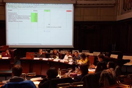 Der Schüler-Finanz-Ausschuss im Hodlersaal