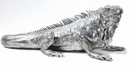 Leguan silber, Polyresin, 140cm