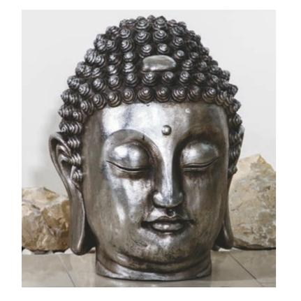 Buddhakopf, Polyresin, silber antik