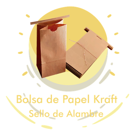 Bolsa de Papel Kraft con Sello de Alambre