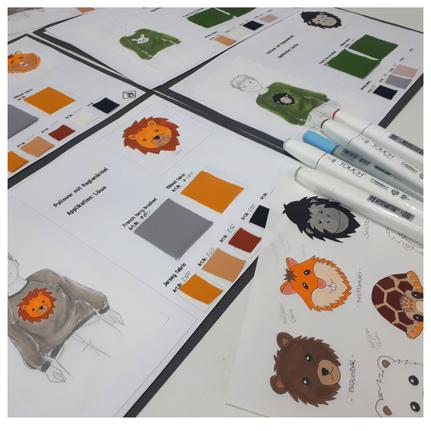 Kleiner Einblick in die Entwürfe mit Stoffmustern der einzelnen Kinderpullover