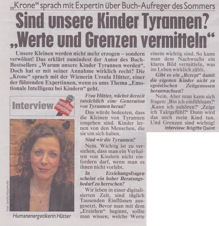 Ursula Renate Hütter Wendepunkte Interview Emotionale Intelligenz Kronen Zeitung
