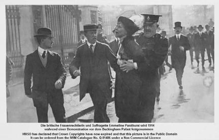 Emmeline Pankhursts Festnahme vor dem Buckingham Palast