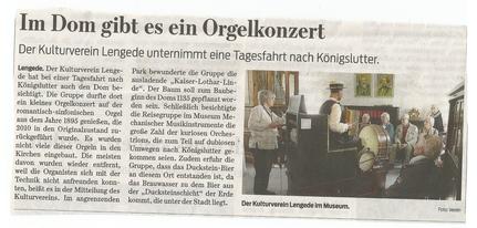 Braunschweiger Zeitung, 26. April 2018, Bericht zur Tagesfahrt