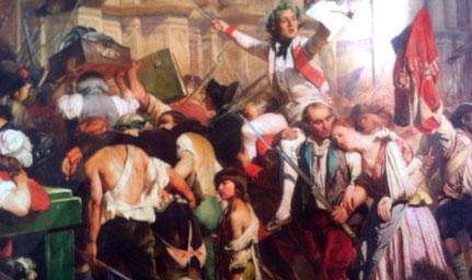 Efter Bastillens fald marcherede folkemængden til Rådhuset i Paris (maleri af Hippolyte Delaroche)