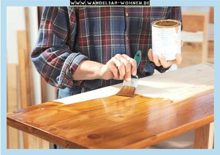 Die Holzmaserung betonen und das Holz färben - mit Beize - Wandelbar ...