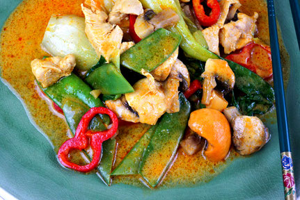 Thailändisches Essen, ausnahmsweise mal mild gehalten.
