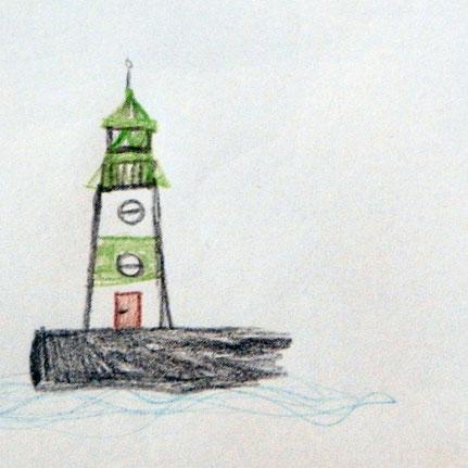Leuchtturm Schleimünde- Zeichnung von Peer