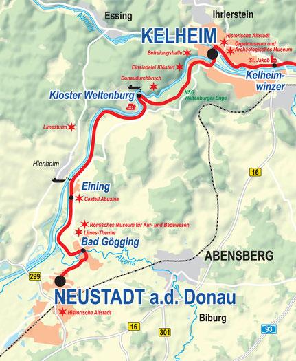 Vergrößerbare Karte Etappe Neustadt a. d. Donau bis Kelheim