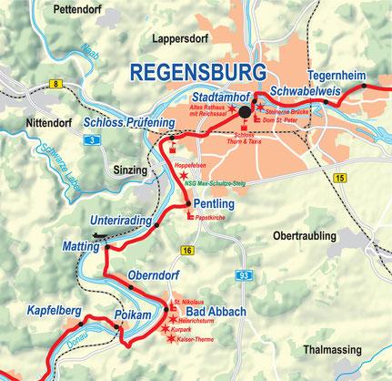 Vergrößerbare Karte: Etappe Bad Abbach bis Regensburg