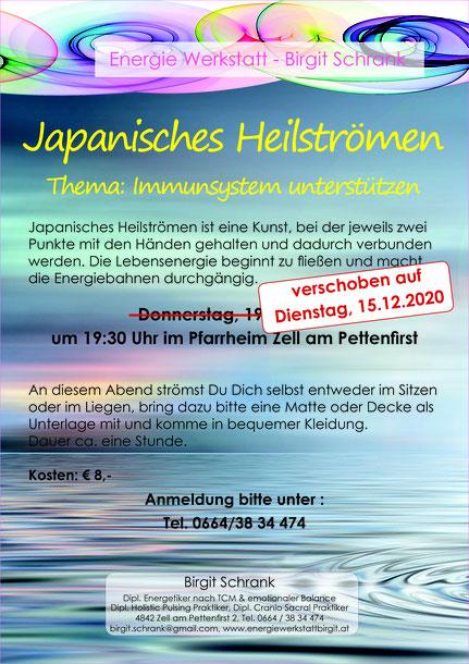 Japanisches Heilströmen - Immunsystem unterstützen, verschoben auf 15.12.2020 um 19:30 Uhr im Pfarrheim Zell am Pettenfirst