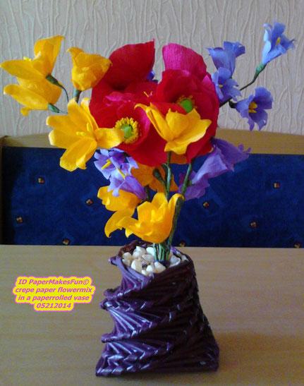 crepe paper - flowermix in a paper rolled vase 05212014