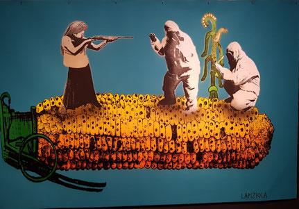 Schablone des Künstler:innenkollektivs Lapiztola: Die Verteidigung des Maises.  Ausstellungsobjekt in Resist! Rautenstrauch-Joest-Museum (2021) © Foto Irene Franken