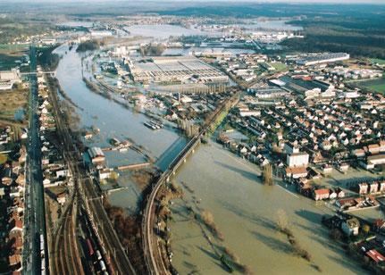 Secteur de la confluence Oise Aisne, crue de décembre 1993. Photo C. Schryve.