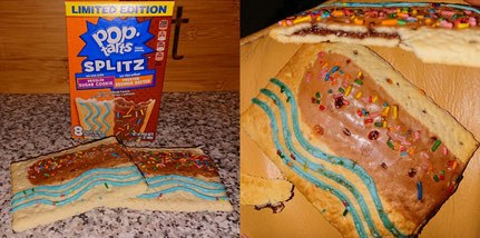 Hier im Bild sieht man die Keks ungetoasted links und rechts getoasted mit der dunklen Füllung