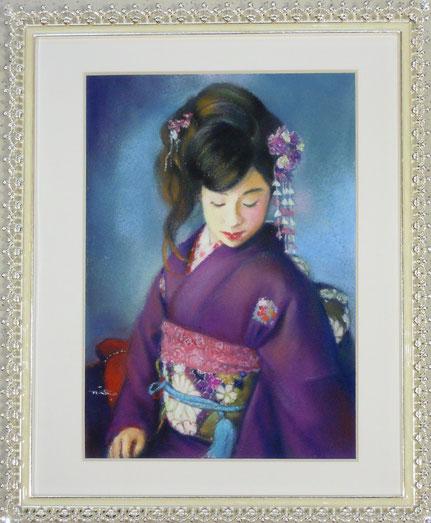 肖像画 人物画 パステル画教室 お稽古 習い事 日本舞踊 着物