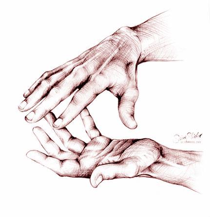 Behandelnde Hände Zeichnung