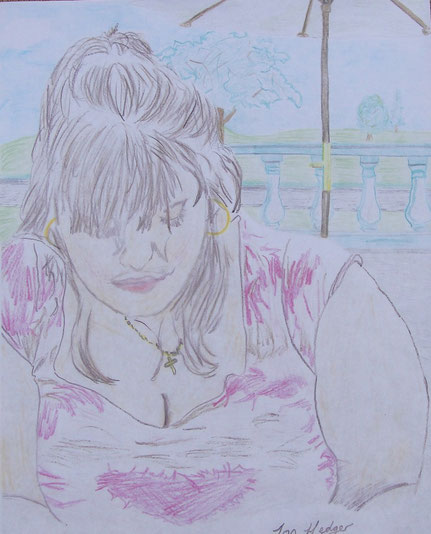Luisa At Hampton Court by Jon Hedger - colour pencil drawing (c) copyright 2005