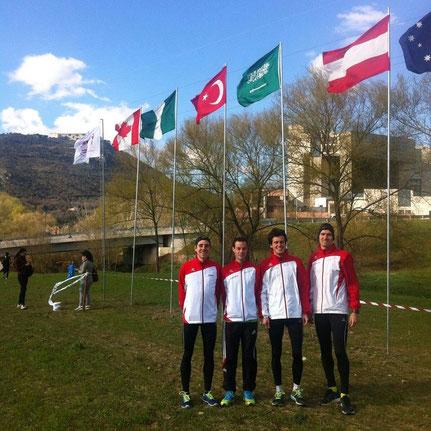 Österreichs Team bei der Studenten-Cross-WM in Italien mit Christoph Sander, Robert Fencl, Valentin Pfeil und Andreas Vojta (Foto: Karl Sander)