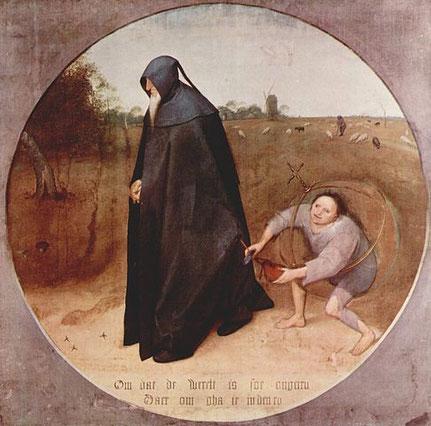 Ein buckeliger Kommunist bestiehlt hinterfotzig einen hart arbeitenden Unternehmer. Historische Darstellung aus dem 16. Jh. von Pieter Brügel d.Ä.