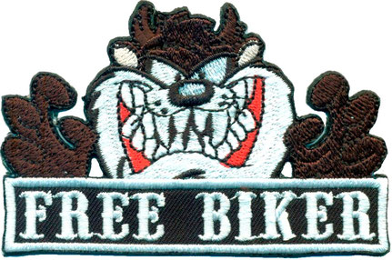 TAZ Badass FREE- BIKER Comic Rockabilly Punk Anarchy Biker Motorcycle Aufnäher Patch