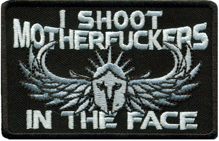 I Shoot Motherfuckers in The Face, Skelett Flügel Totenkopf Wings Skull Helmet Biker Patch Abzeichen Aufnäher