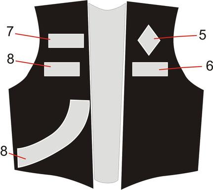 MC Motorcycleclub Kutte Vorderseite Weste, Patch, Aufnäher Anordnung, Centerpatch, Top Rocker, Buttom Rocker, Rangabzeichen