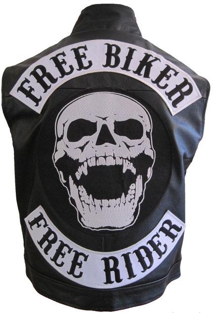 Free Biker Free Rider Lederweste, Kutte no MC Aufnäher Backpatch Rückseite