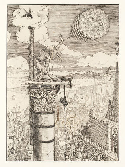St. Symeon Stylites von William Burges 1861. Illustration eines Gedichtes von Alfred Tennyson. © Victoria and Albert Museum