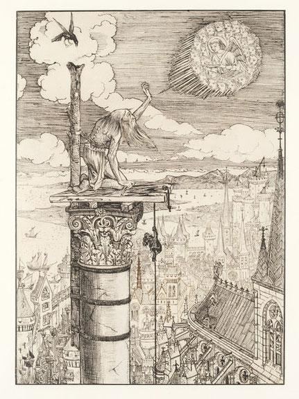 St. Symeon Stylites von William Burges 1861. Illustration eines Gedichtes von Alfred Tennyson. © Victoria and Albert Museum