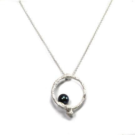 """Hoffnungszweig"" - Halskette mit Tahiti-Perle in Sterling Silber"