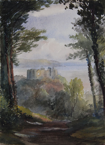Llanpharma Castle, 1852, Aquarell, 23,5 x 17 cm