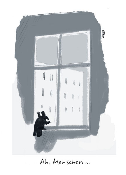Cartoon zum Thema Corona Lockdown Pandemie Isolation Psyche