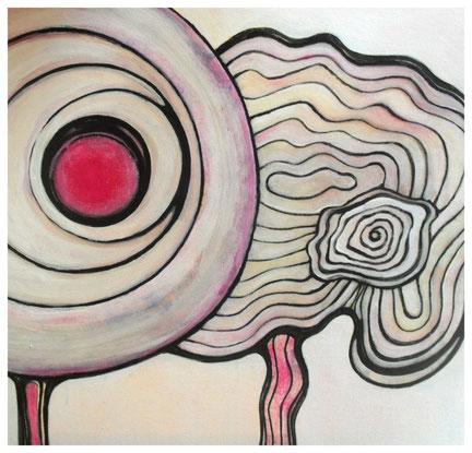 o.T., Acrylfarbe, Fineliner auf Keilrahmen, 50x50cm, 2013