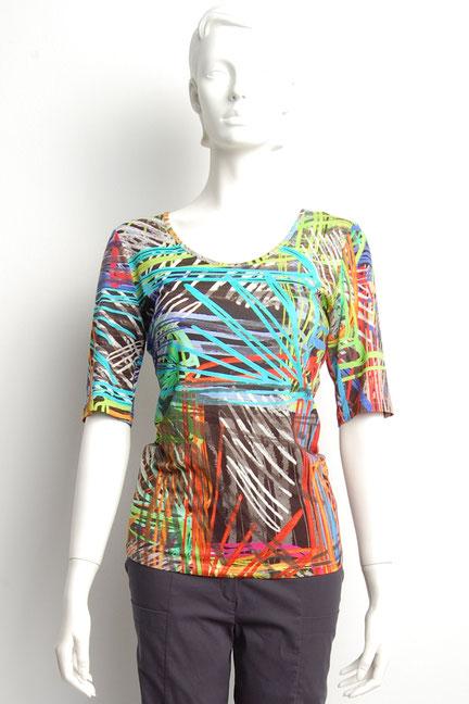 Fox´s Shirt Yang mit 3/4 Arm und Printmuster taillierter Schnitt