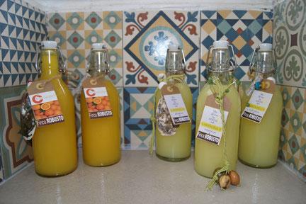 Homemade narancello and limoncello from the gardens of Finca Robusto