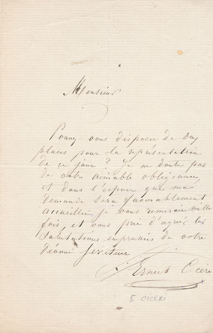Ernest Ciceri lettre autographe signée