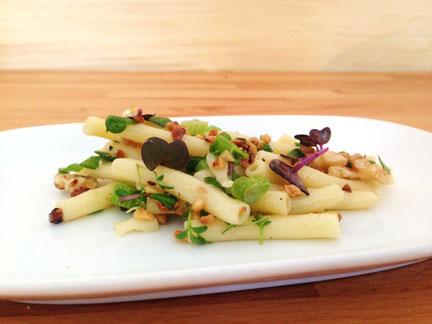 Nudel-Nuss-Salat mit gerösteten Walnüssen, Pinienkernen und Haselnüssen dazu bunte Kresse und Zitronendressing