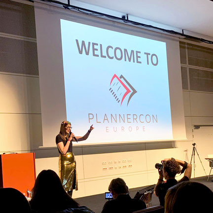 Mella at the opening ceremony of Plannercon Europe 2019 hall