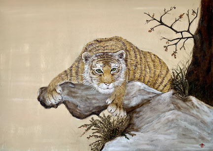 Japanese Nihonga painting with a crouching tiger that looks directly into your eyes to give you his strength and power traditional Asian artwork for your home art for sale
