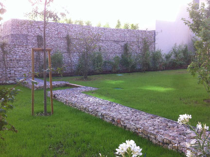 Construction mur et muret de soutènement en gabions - aménagement paysager - Marseille